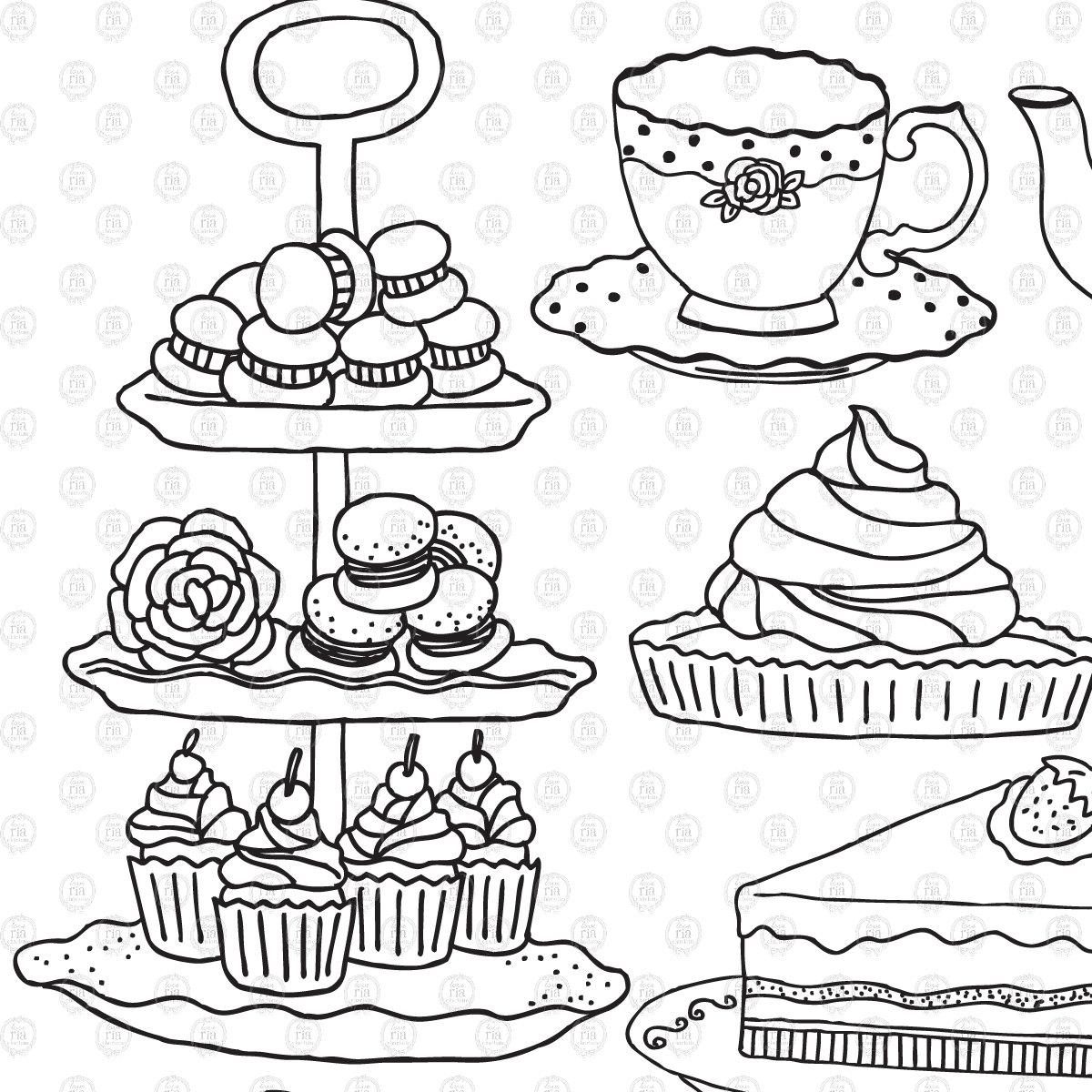 Drawn teacup afternoon tea #12