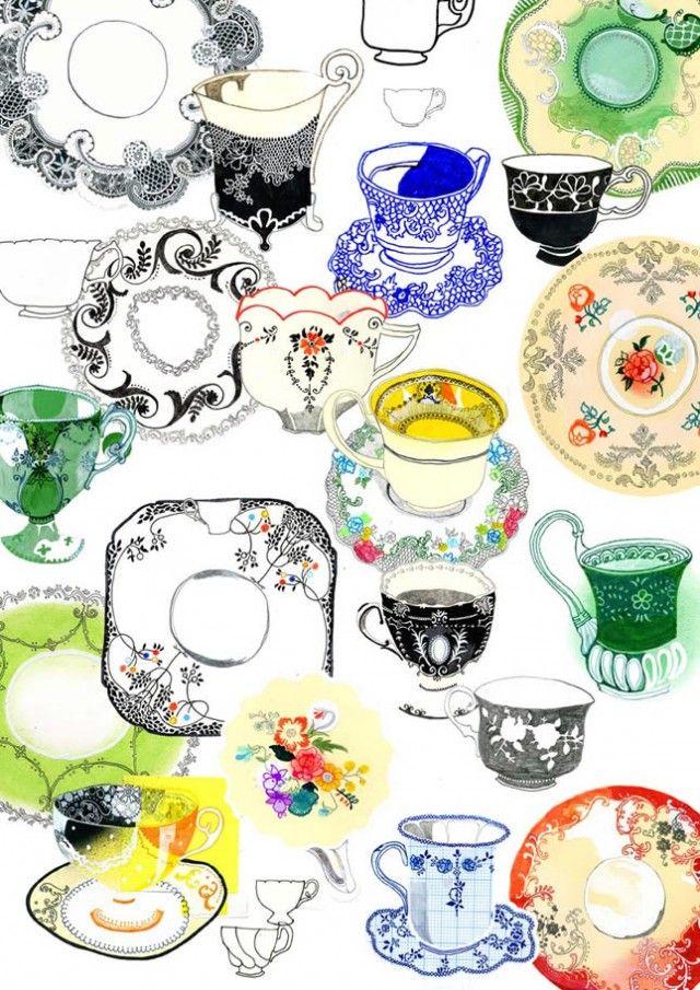 Drawn teacup afternoon tea #3