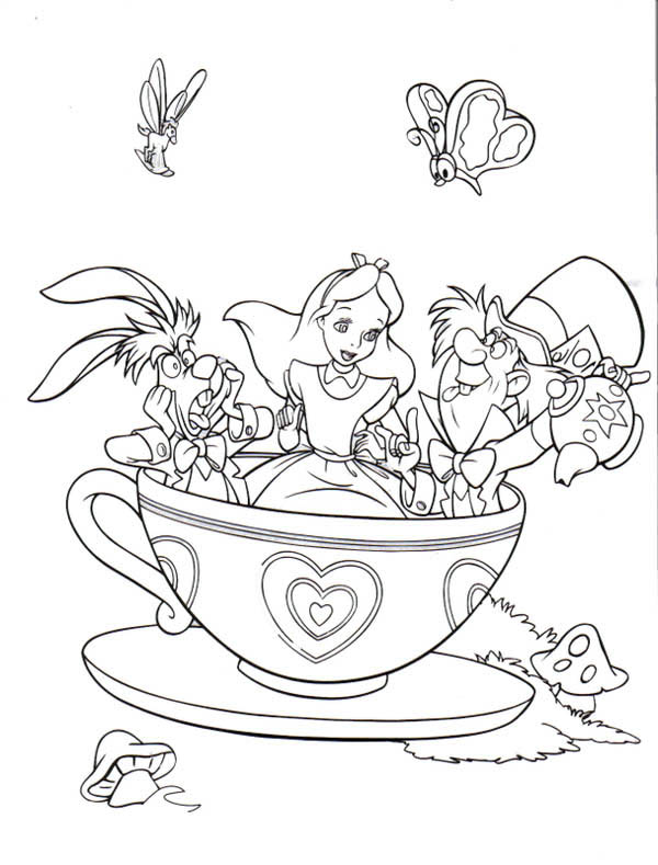 Drawn alice in wonderland coloring pages #1