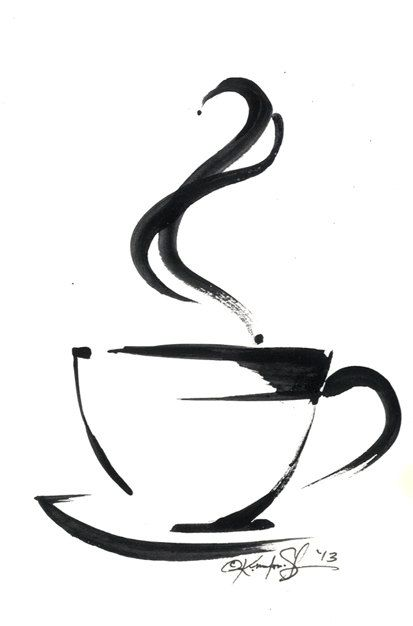 Drawn teacup coffee cup #13