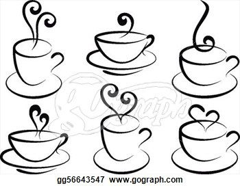 Drawn teacup coffee cup #8