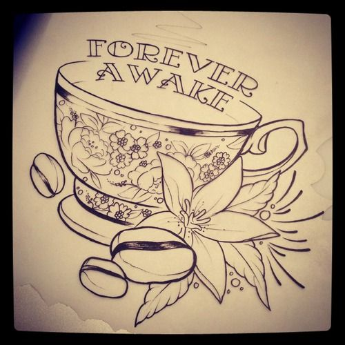 Drawn teacup coffee cup #14