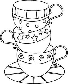 Drawn teacup coffee cup #7