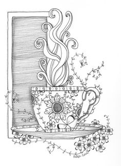 Drawn teacup coffee cup #11