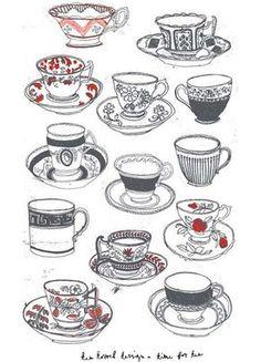 Drawn teacup crockery #3