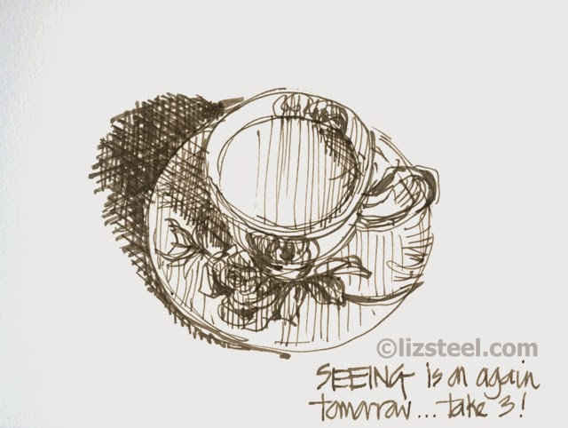 Drawn teacup cross hatching #4