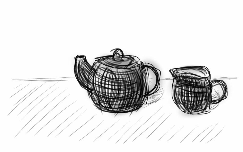 Drawn teacup cross hatching #15