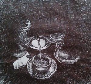 Drawn teacup cross hatching #6