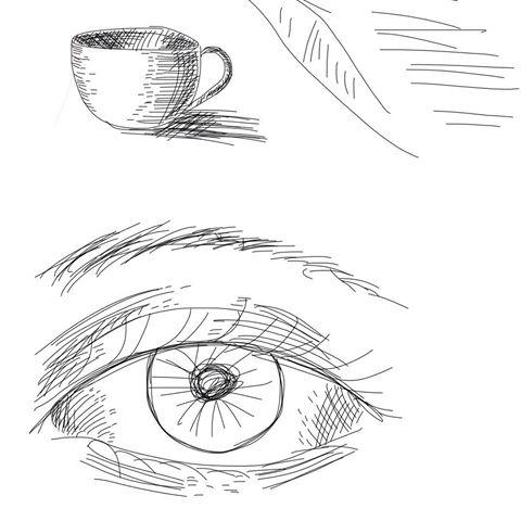 Drawn teacup cross hatching #13