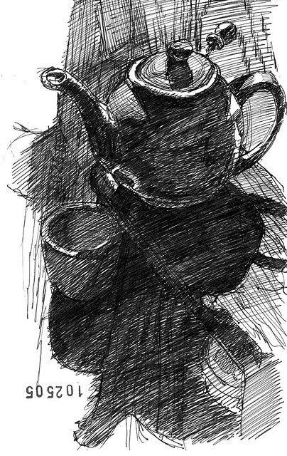 Drawn teacup cross hatching #3