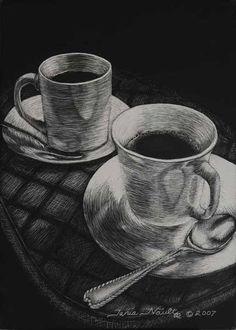 Drawn teacup cross hatching #2