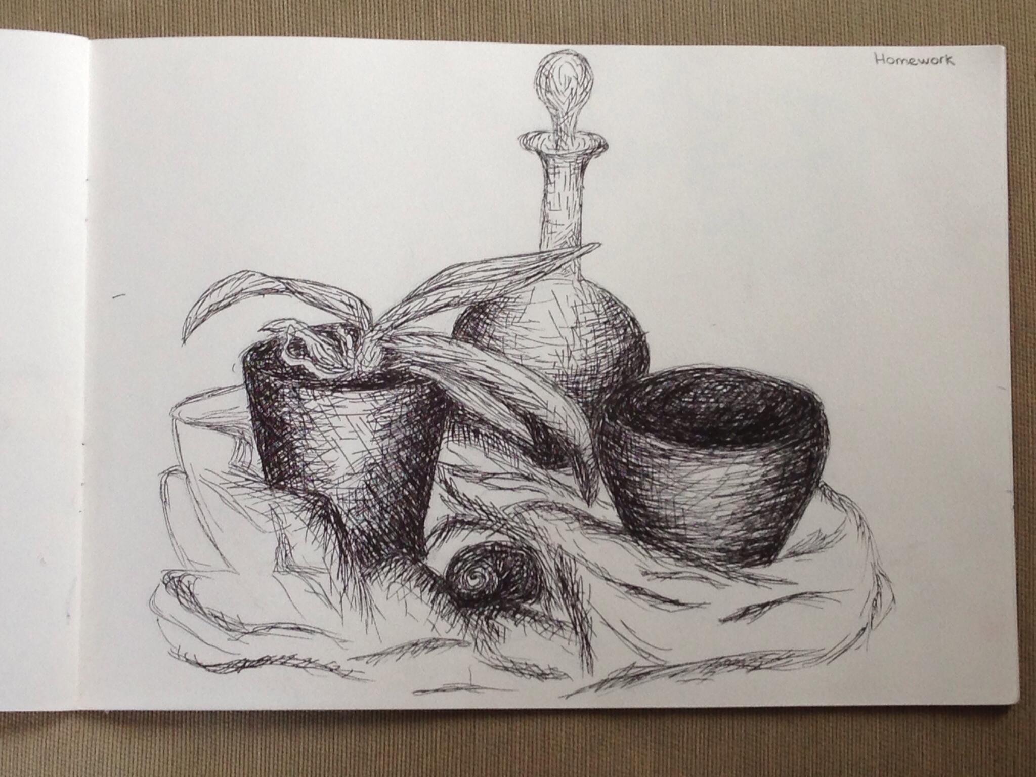 Drawn teacup cross hatching #7