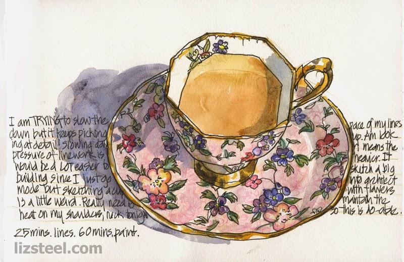 Drawn teacup cross hatching #10