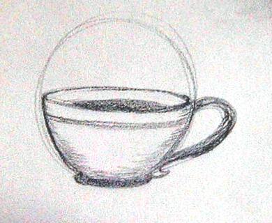Drawn teacup cross hatching #8