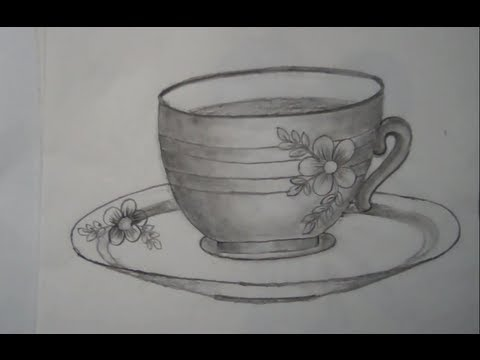 Drawn teacup cup saucer Saucer a cup a Drawing