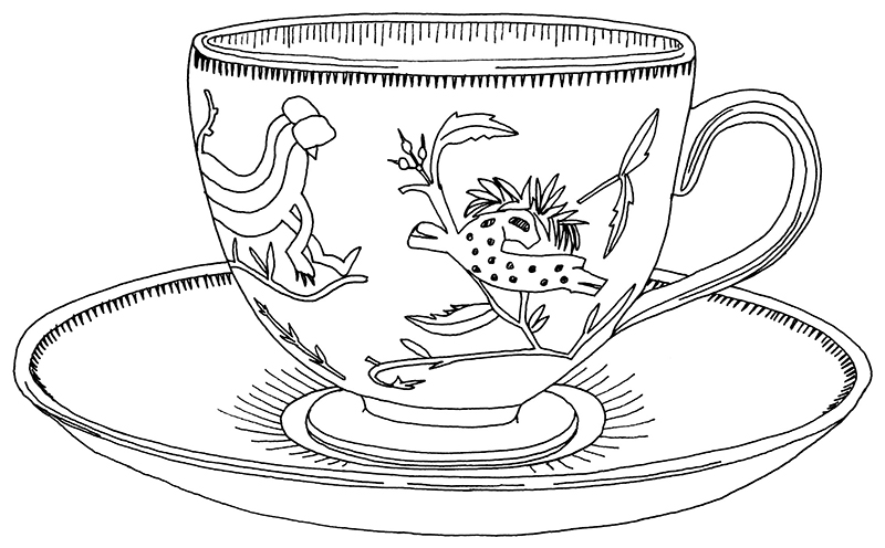 Drawn teacup cup saucer Cups Evelyn Cups Crabtree Crabtree