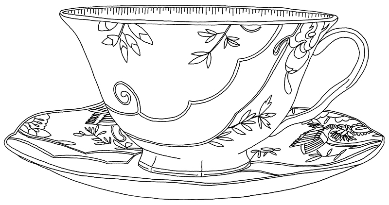 Drawn teacup cup saucer Patel Evelyn Evelyn Cup patel