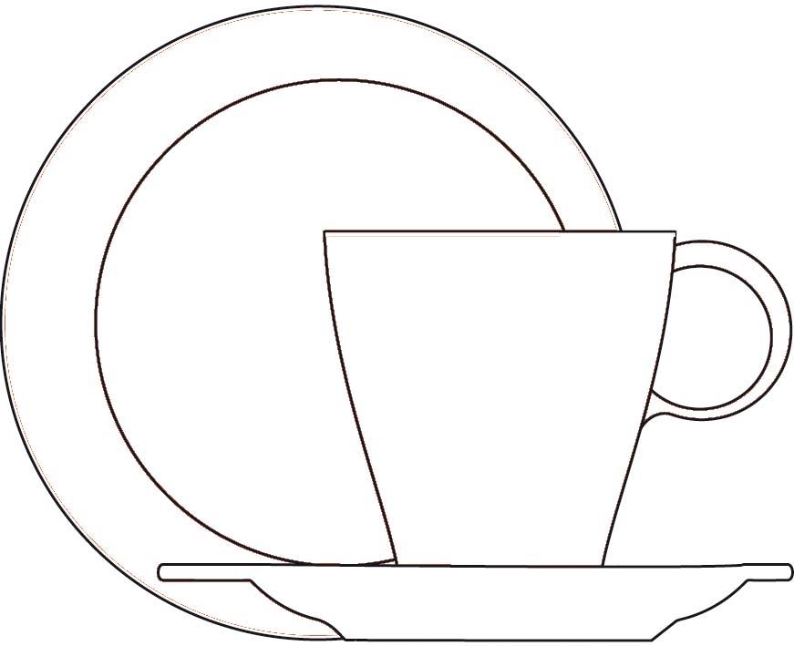Drawn teacup cup saucer CASA and saucer saucer tea