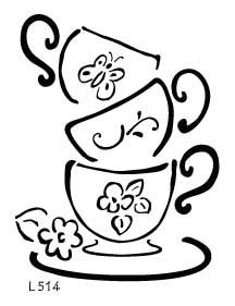 Drawn teacup stacked #14