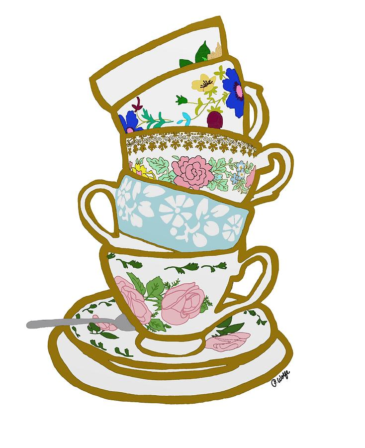 Drawn teacup stacked #8