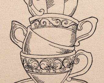 Drawn teacup stacked #6