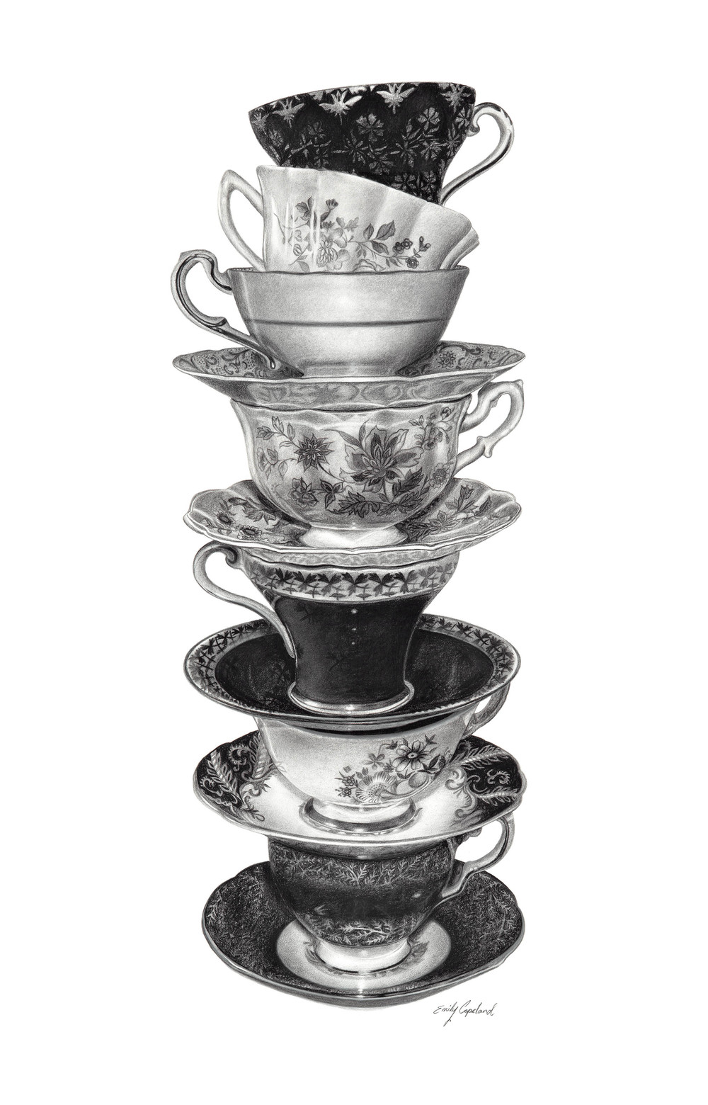 Drawn teacup stacked #11
