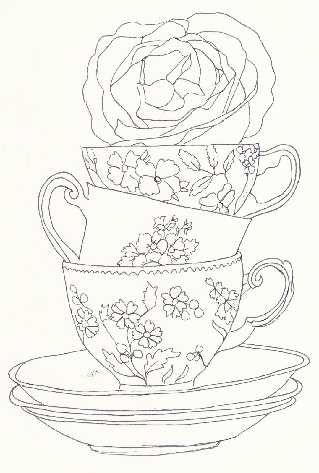 Drawn teacup stacked #9