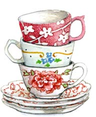 Drawn teacup stacked #2