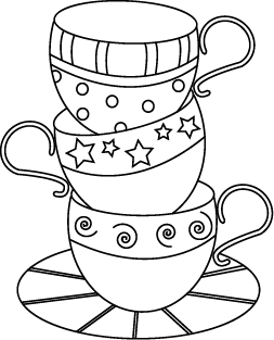 Drawn teacup stacked #15