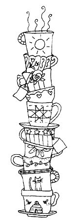 Drawn teacup stacked #13