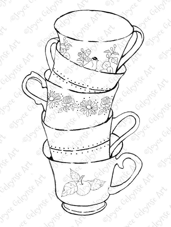 Drawn teacup stacked #3