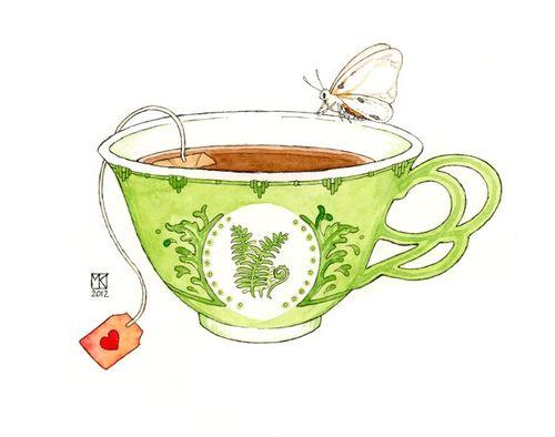 Drawn teacup tea mug #8