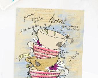 Drawn teacup tea mug #12