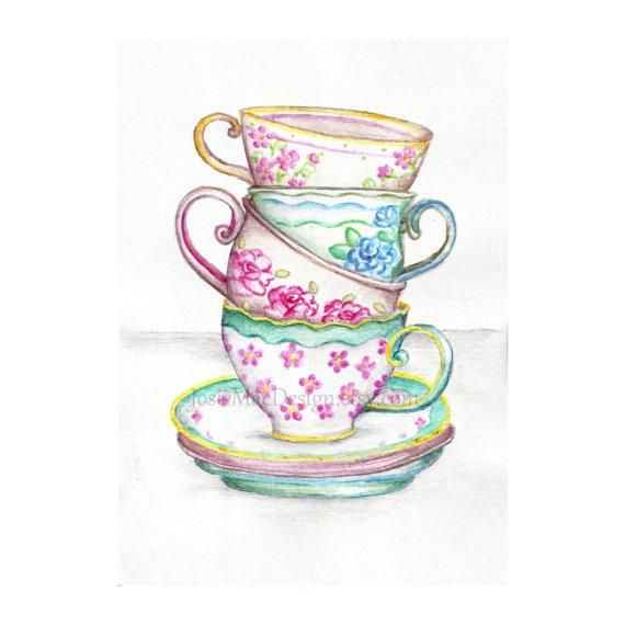 Drawn teacup tea mug #4