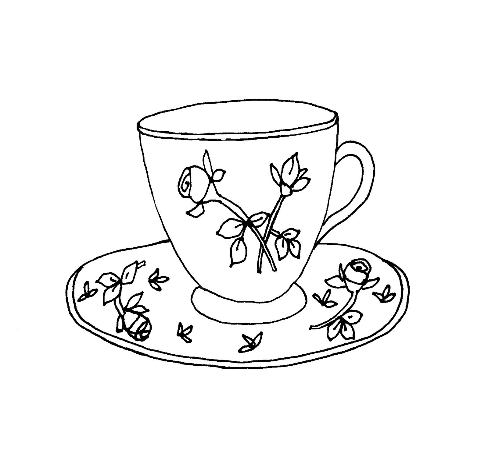 Drawn teacup tea mug #7