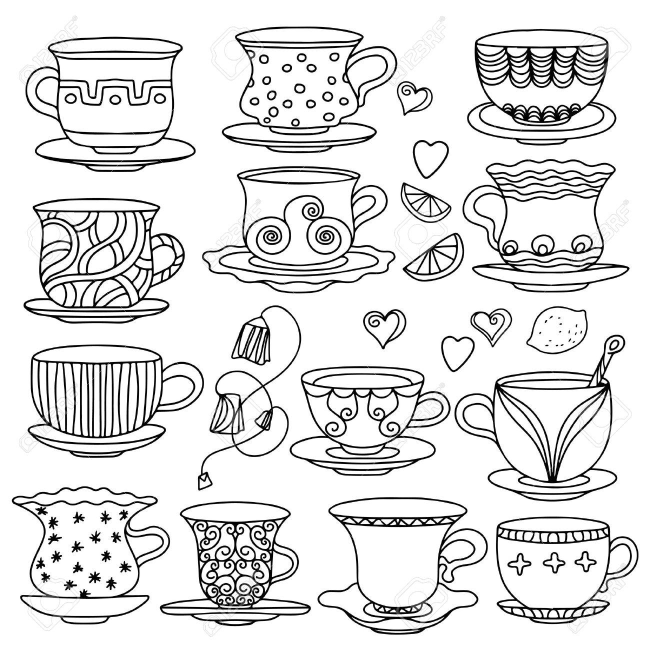 Drawn teacup tea set Pesquisa tea Google  Google