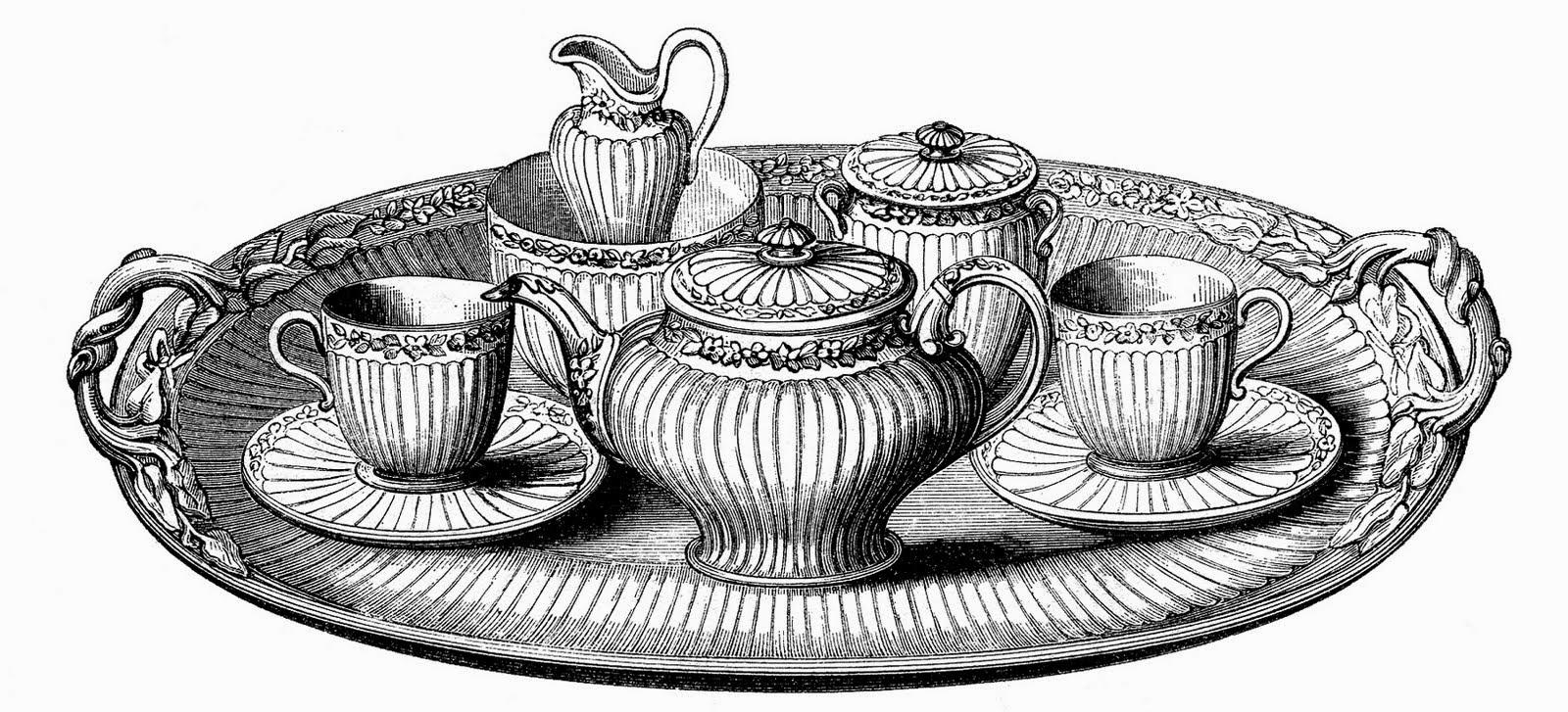 Drawn teacup tea set Ink Set Vintage Drawing Drawing