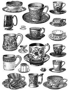 Drawn teacup tea set Graphics Vintage Service Art Images
