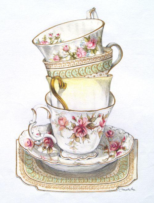 Drawn teacup tea set 17 images Best Pinterest &