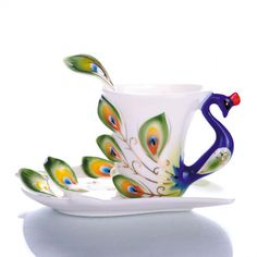Drawn teacup tea set Porcelain Mugs enamel  tea