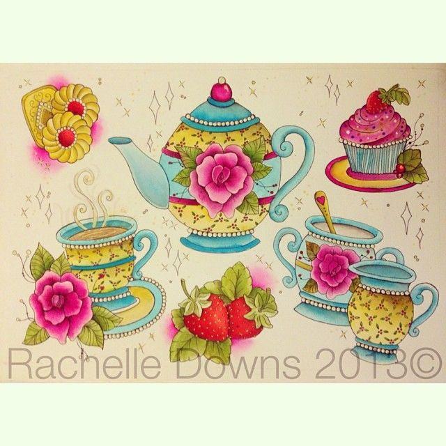 Drawn teacup teapot #13