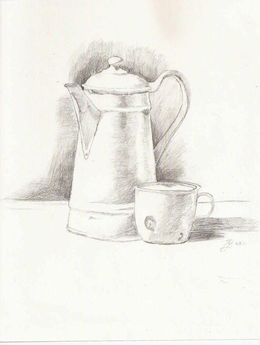 Drawn teacup teapot #12