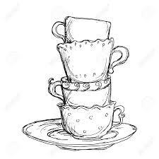 Drawn teacup teapot #14