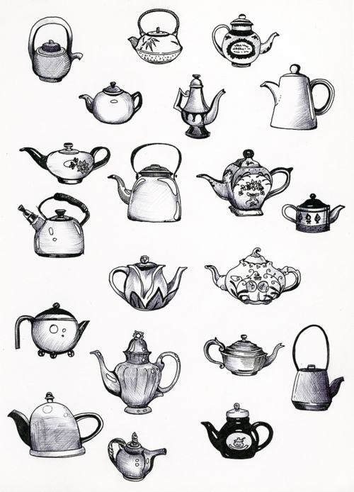 Drawn teapot cute Of like style through drawing