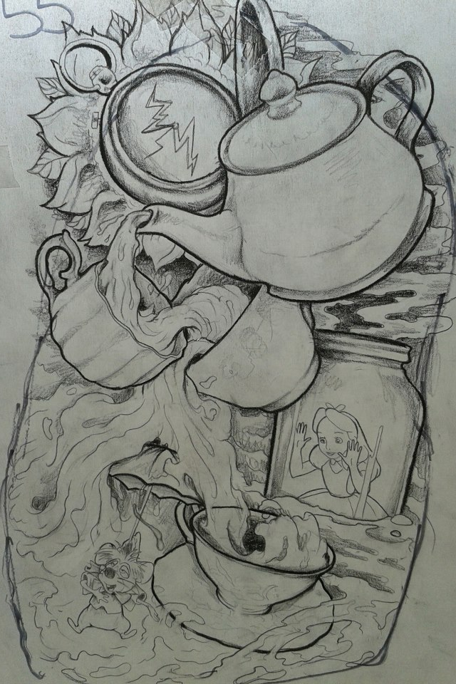 Drawn alice in wonderland hot drawing Would the back in tattoo