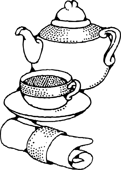 Drawn teapot outline Teapot Clker Clip at Cup