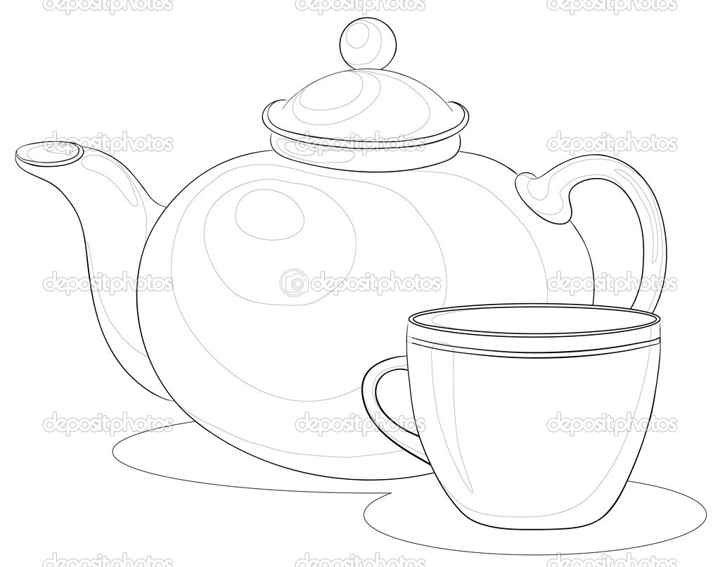 Drawn teapot outline More Drawings ideas set drawing