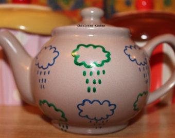 Drawn teapot porcelain Drawn rain grey Hand teapot