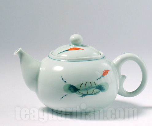 Drawn teapot porcelain Painted glaze porcelain Hand in