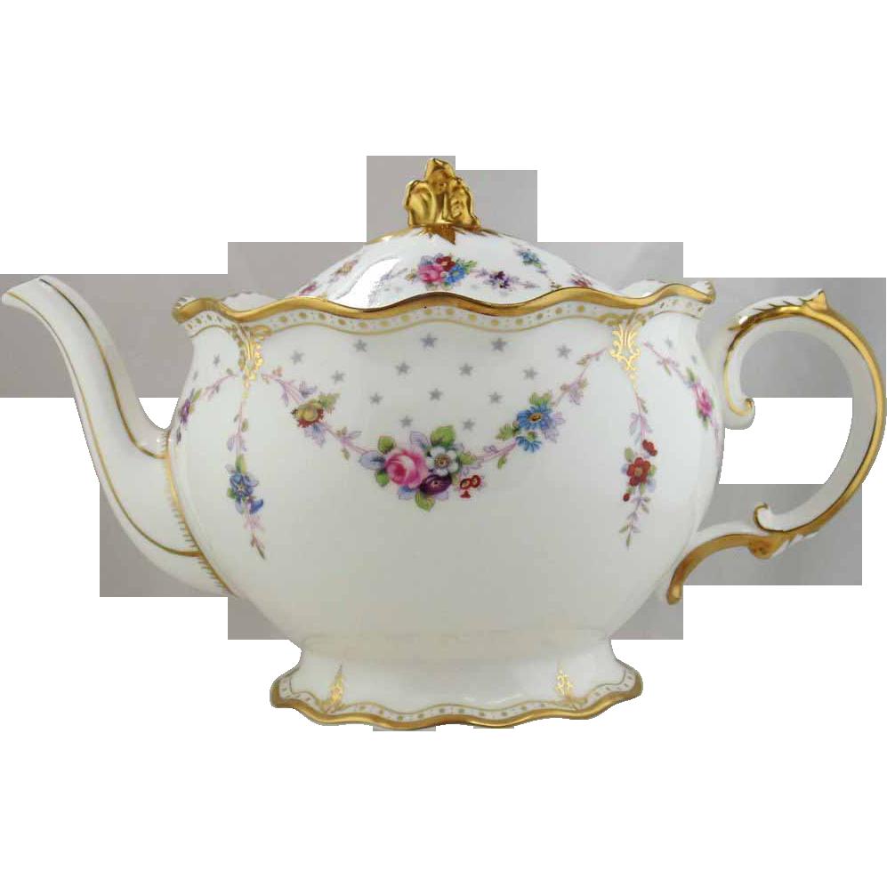 Drawn teapot porcelain Crown Antoinette Derby Royal Teapot